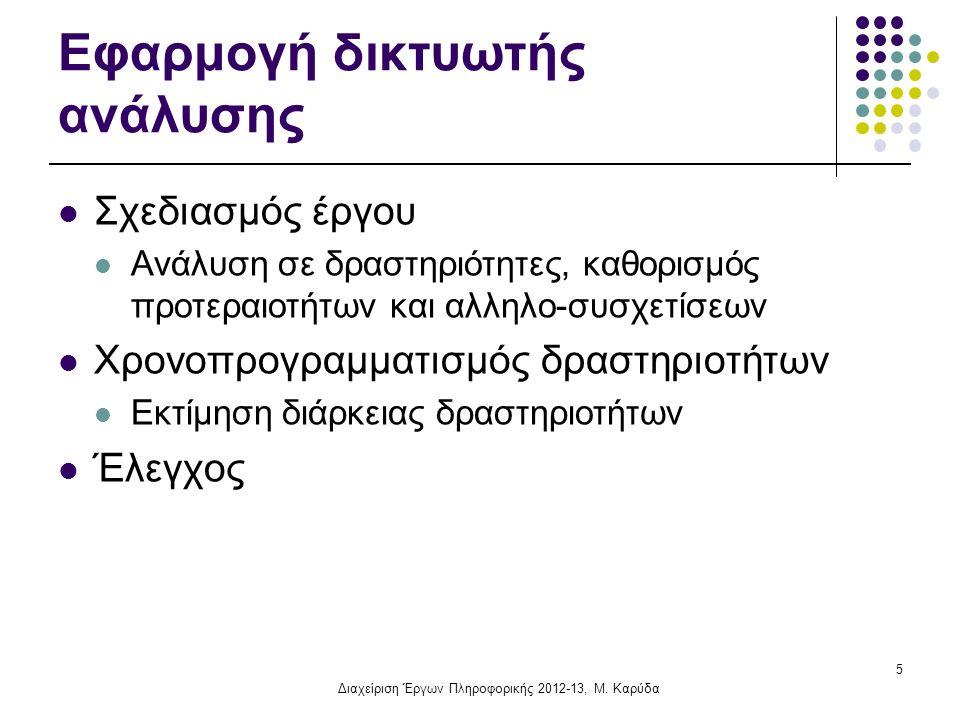 Διαχείριση Έργων Πληροφορικής, 2010-11 Άσκηση 2 (συνέχεια): Κρίσιμη Διαδρομή Δραστηριότητα Συνολικό Περιθώριο (1,2)0 (2,3)4 (2,4)0 (3,5)4 (4,5)0 (5,6)0