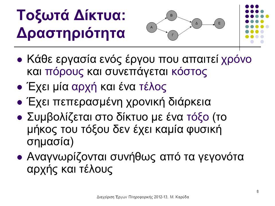 Τοξωτά Δίκτυα: Δραστηριότητα Κάθε εργασία ενός έργου που απαιτεί χρόνο και πόρους και συνεπάγεται κόστος Έχει μία αρχή και ένα τέλος Έχει πεπερασμένη χρονική διάρκεια Συμβολίζεται στο δίκτυο με ένα τόξο (το μήκος του τόξου δεν έχει καμία φυσική σημασία) Αναγνωρίζονται συνήθως από τα γεγονότα αρχής και τέλους 8 Διαχείριση Έργων Πληροφορικής 2012-13, Μ.