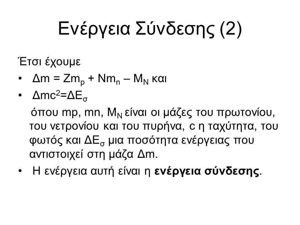 Ενέργεια Σύνδεσης (2) Έτσι έχουμε Δm = Zm p + Nm n – M N και Δmc 2 =ΔΕ σ όπου mp, mn, M N είναι οι μάζες του πρωτονίου, του νετρονίου και του πυρήνα, c η ταχύτητα, του φωτός και ΔΕ σ μια ποσότητα ενέργειας που αντιστοιχεί στη μάζα Δm.