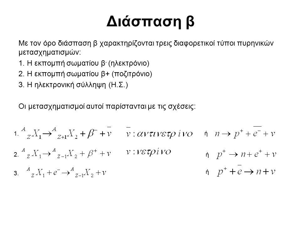 Διάσπαση β Με τον όρο διάσπαση β χαρακτηρίζονται τρεις διαφορετικοί τύποι πυρηνικών μετασχηματισμών: 1. Η εκπομπή σωματίου β - (ηλεκτρόνιο) 2. Η εκπομ