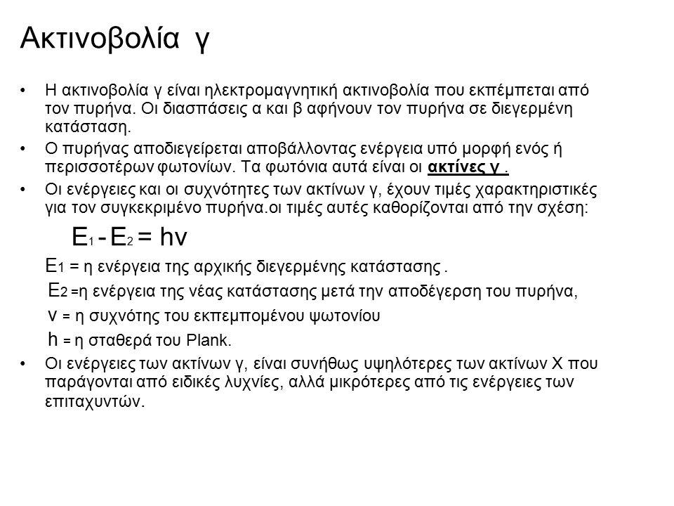Ακτινοβολία γ Η ακτινοβολία γ είναι ηλεκτρομαγνητική ακτινοβολία που εκπέμπεται από τον πυρήνα. Οι διασπάσεις α και β αφήνουν τον πυρήνα σε διεγερμένη