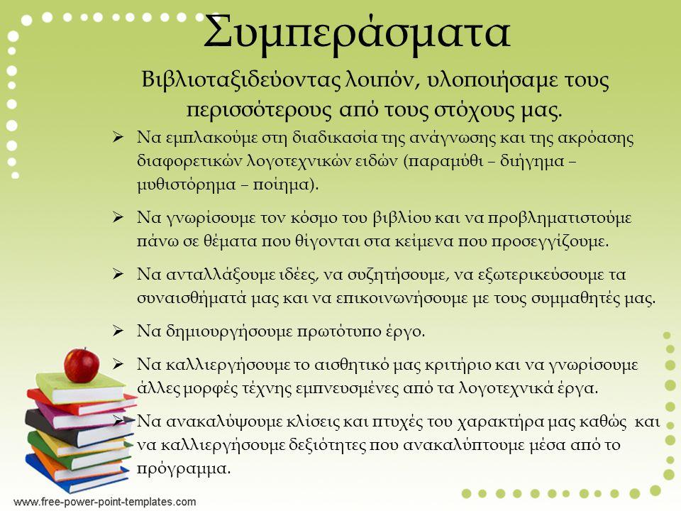 Σκέψεις για το μέλλον Αξιοποιώντας την εμπειρία της φετεινής χρονιάς, σκοπεύουμε να επαναλάβουμε το πρόγραμμα και την επόμενη χρονιά με επιπλέον στόχους  Επίσκεψη λογοτέχνη στο σχολείο μας  Παρακολούθηση βιβλιοπαρουσίασης  Περισσότερες επισκέψεις εκτός σχολείου