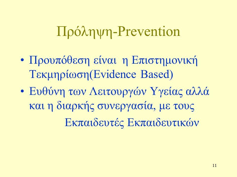 11 Πρόληψη-Prevention Προυπόθεση είναι η Επιστημονική Τεκμηρίωση(Evidence Based) Ευθύνη των Λειτουργών Υγείας αλλά και η διαρκής συνεργασία, με τους Εκπαιδευτές Εκπαιδευτικών