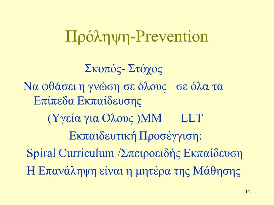 12 Πρόληψη-Prevention Σκοπός- Στόχος Να φθάσει η γνώση σε όλους σε όλα τα Επίπεδα Εκπαίδευσης (Υγεία για Ολους )ΜΜ LLT Εκπαιδευτική Προσέγγιση: Spiral Curriculum /Σπειροειδής Εκπαίδευση Η Επανάληψη είναι η μητέρα της Μάθησης