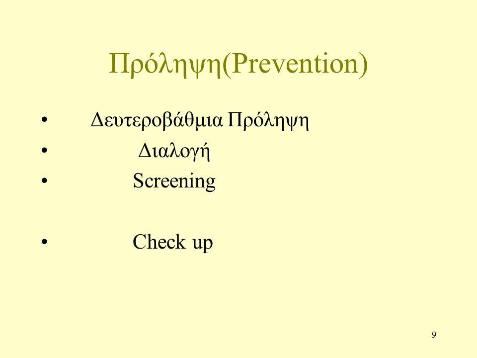 10 Πρόληψη Prevention Τριτοβάθμια Πρόληψη Παρηγορητική Αγωγή Tertiary Prevention Quaternary Prevention