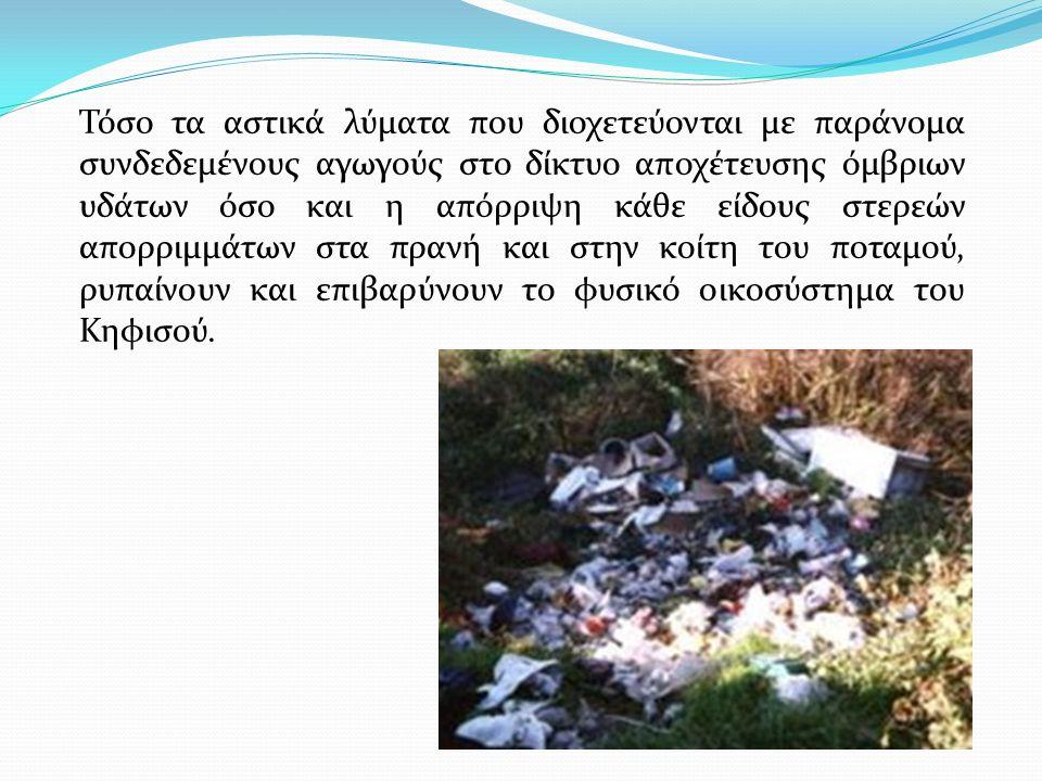 Προέλευση ρύπανσης Κηφισού Η ρύπανση των υδάτων προέρχεται κυρίως από μη ή μερικώς επεξεργασμένα υγρά απόβλητα βιομηχανιών και βιοτεχνιών που εδρεύουν στις παρακηφίσιες περιοχές.