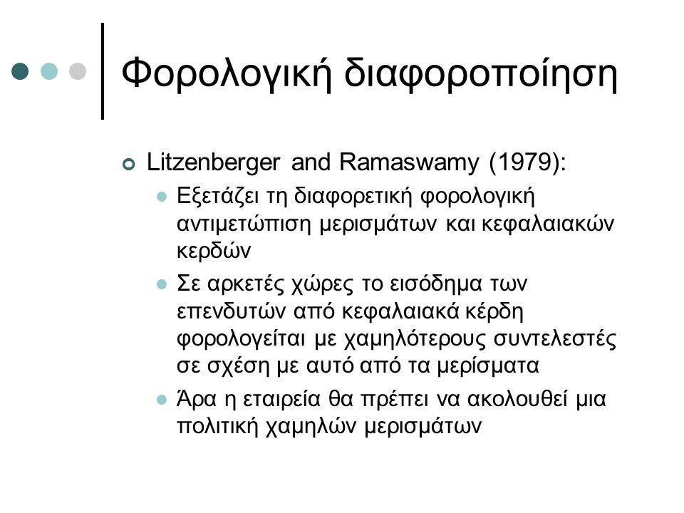 Φορολογική διαφοροποίηση Litzenberger and Ramaswamy (1979): Εξετάζει τη διαφορετική φορολογική αντιμετώπιση μερισμάτων και κεφαλαιακών κερδών Σε αρκετές χώρες το εισόδημα των επενδυτών από κεφαλαιακά κέρδη φορολογείται με χαμηλότερους συντελεστές σε σχέση με αυτό από τα μερίσματα Άρα η εταιρεία θα πρέπει να ακολουθεί μια πολιτική χαμηλών μερισμάτων