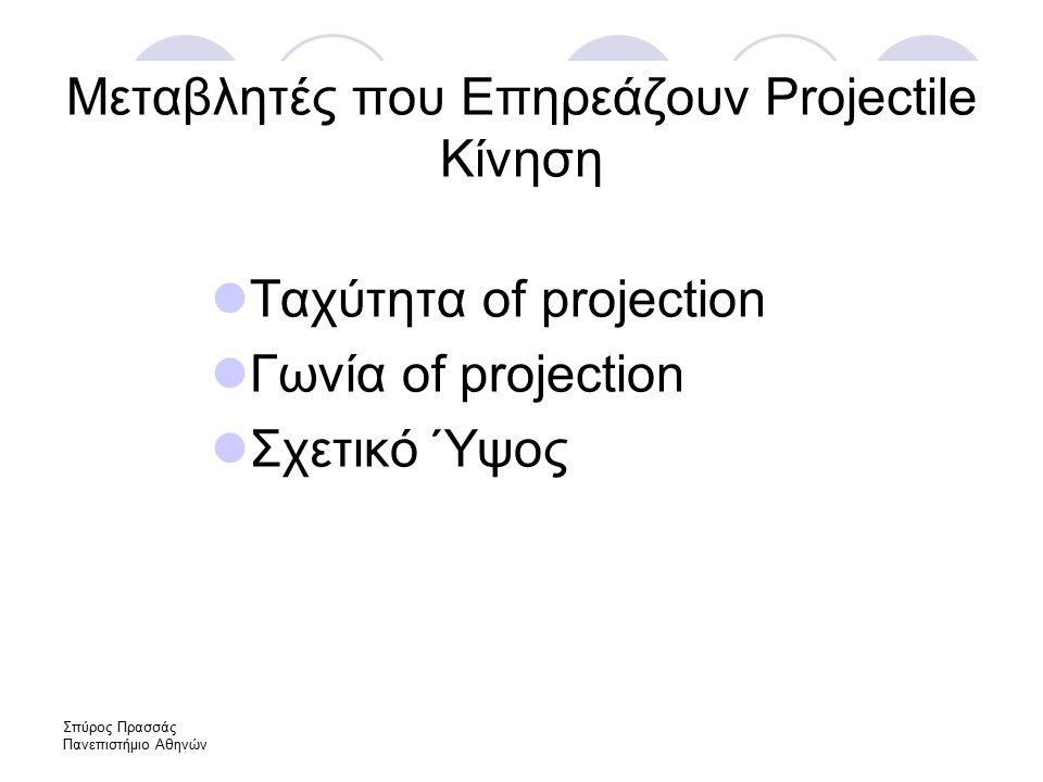 Σπύρος Πρασσάς Πανεπιστήμιο Αθηνών Μεταβλητές που Επηρεάζουν Projectile Κίνηση Ταχύτητα of projection Γωνία of projection Σχετικό Ύψος
