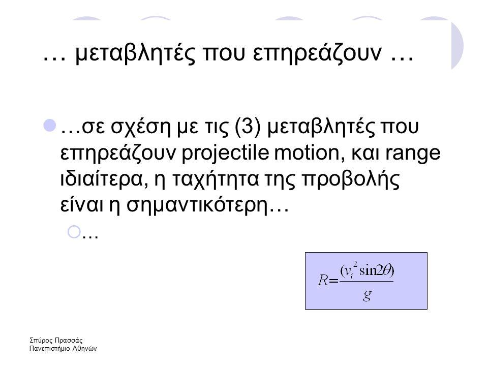 Σπύρος Πρασσάς Πανεπιστήμιο Αθηνών … μεταβλητές που επηρεάζουν … …σε σχέση με τις (3) μεταβλητές που επηρεάζουν projectile motion, και range ιδιαίτερα, η ταχήτητα της προβολής είναι η σημαντικότερη…  …