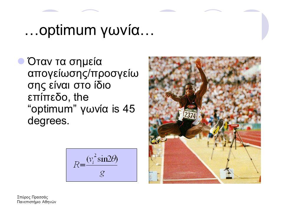 Σπύρος Πρασσάς Πανεπιστήμιο Αθηνών …optimum γωνία… Όταν τα σημεία απογείωσης/προσγείω σης είναι στο ίδιο επίπεδο, the optimum γωνία is 45 degrees.