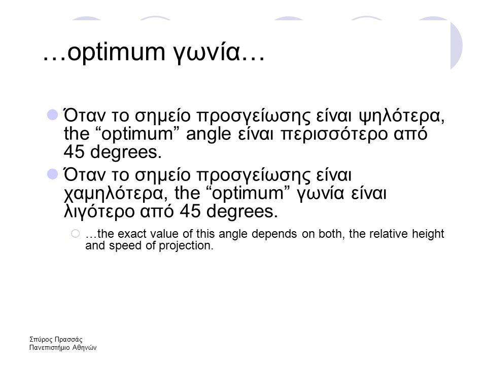 Σπύρος Πρασσάς Πανεπιστήμιο Αθηνών …optimum γωνία… Όταν το σημείο προσγείωσης είναι ψηλότερα, the optimum angle είναι περισσότερο από 45 degrees.