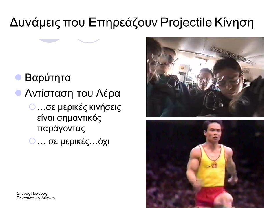 Σπύρος Πρασσάς Πανεπιστήμιο Αθηνών Δυνάμεις που Επηρεάζουν Projectile Κίνηση Βαρύτητα Αντίσταση του Αέρα  …σε μερικές κινήσεις είναι σημαντικός παράγοντας  … σε μερικές…όχι