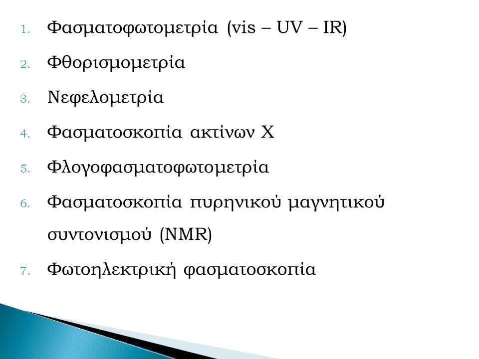 1. Φασματοφωτομετρία (vis – UV – IR) 2. Φθορισμομετρία 3.