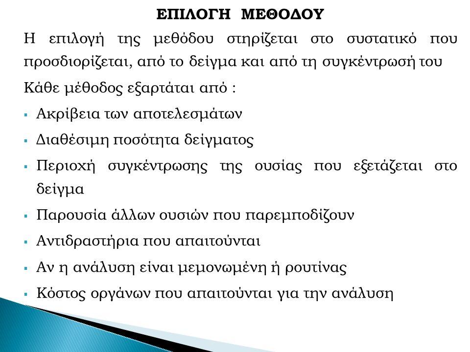 ΕΠΙΛΟΓΗ ΜΕΘΟΔΟΥ Η επιλογή της μεθόδου στηρίζεται στο συστατικό που προσδιορίζεται, από το δείγμα και από τη συγκέντρωσή του Κάθε μέθοδος εξαρτάται από :  Ακρίβεια των αποτελεσμάτων  Διαθέσιμη ποσότητα δείγματος  Περιοχή συγκέντρωσης της ουσίας που εξετάζεται στο δείγμα  Παρουσία άλλων ουσιών που παρεμποδίζουν  Αντιδραστήρια που απαιτούνται  Αν η ανάλυση είναι μεμονωμένη ή ρουτίνας  Κόστος οργάνων που απαιτούνται για την ανάλυση