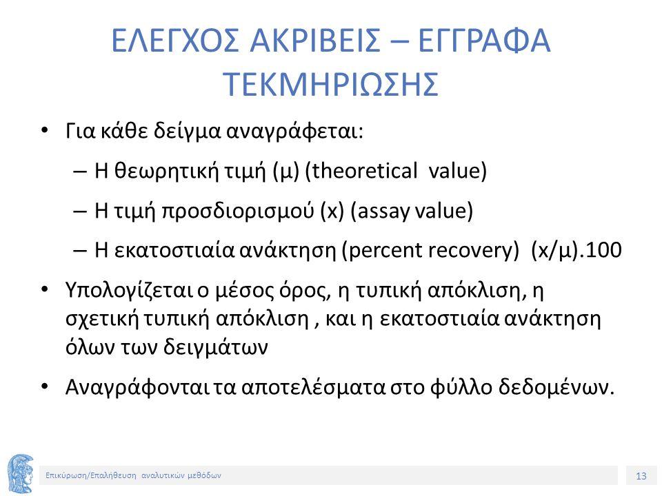 13 Επικύρωση/Επαλήθευση αναλυτικών μεθόδων ΕΛΕΓΧΟΣ ΑΚΡΙΒΕΙΣ – ΕΓΓΡΑΦΑ ΤΕΚΜΗΡΙΩΣΗΣ Για κάθε δείγμα αναγράφεται: – Η θεωρητική τιμή (μ) (theoretical value) – Η τιμή προσδιορισμού (x) (assay value) – Η εκατοστιαία ανάκτηση (percent recovery) (x/μ).100 Υπολογίζεται ο μέσος όρος, η τυπική απόκλιση, η σχετική τυπική απόκλιση, και η εκατοστιαία ανάκτηση όλων των δειγμάτων Αναγράφονται τα αποτελέσματα στο φύλλο δεδομένων.