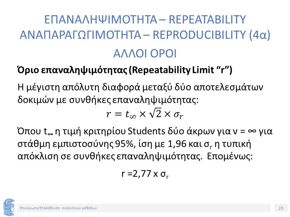 23 Επικύρωση/Επαλήθευση αναλυτικών μεθόδων ΕΠΑΝΑΛΗΨΙΜΟΤΗΤΑ – REPEATABILITY ΑΝΑΠΑΡΑΓΩΓΙΜΟΤΗΤΑ – REPRODUCIBILITY (4α)