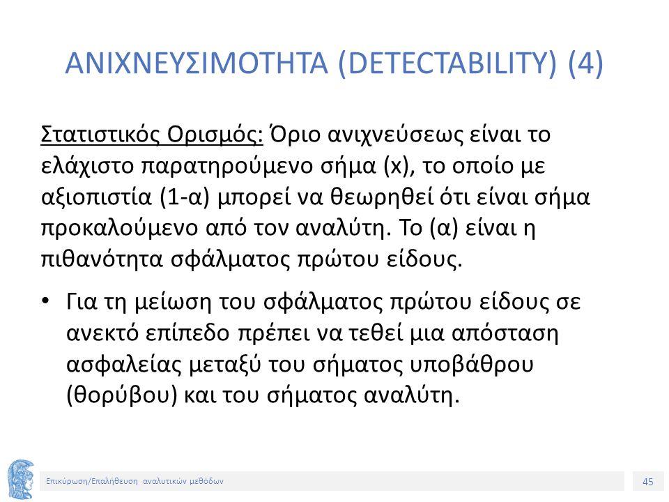 45 Επικύρωση/Επαλήθευση αναλυτικών μεθόδων ΑΝΙΧΝΕΥΣΙΜΟΤΗΤΑ (DETECTABILITY) (4) Στατιστικός Ορισμός: Όριο ανιχνεύσεως είναι το ελάχιστο παρατηρούμενο σήμα (x), το οποίο με αξιοπιστία (1-α) μπορεί να θεωρηθεί ότι είναι σήμα προκαλούμενο από τον αναλύτη.