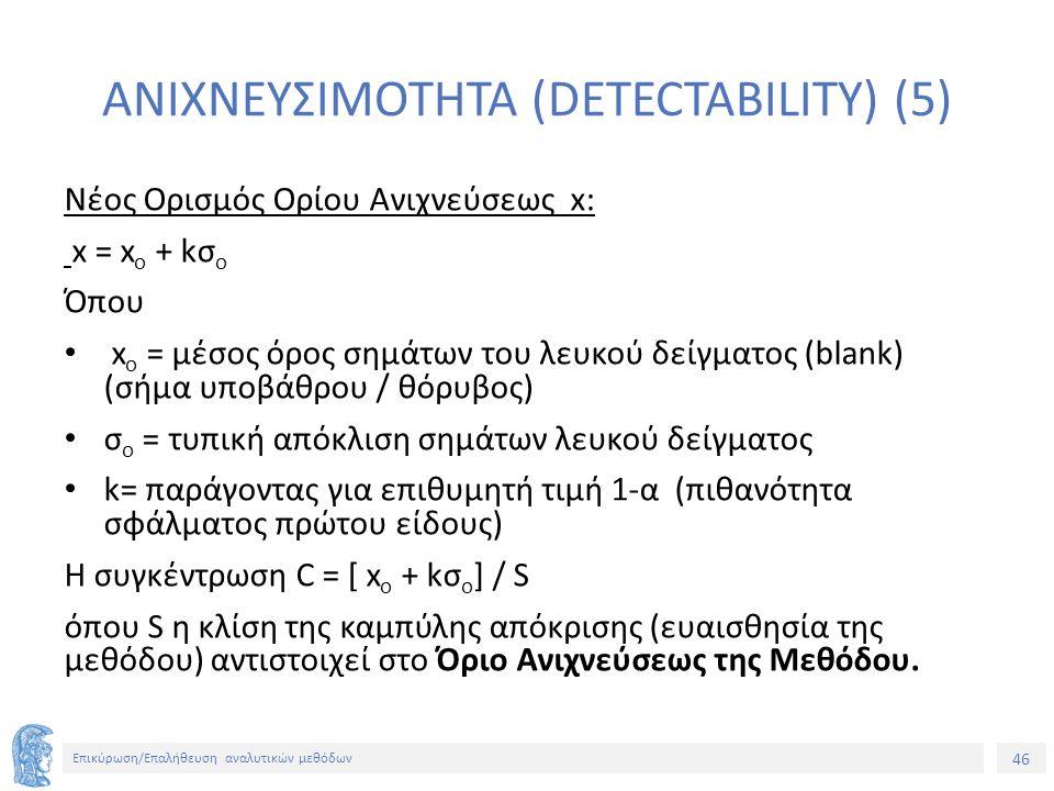 46 Επικύρωση/Επαλήθευση αναλυτικών μεθόδων ΑΝΙΧΝΕΥΣΙΜΟΤΗΤΑ (DETECTABILITY) (5) Νέος Ορισμός Ορίου Ανιχνεύσεως x: x = x o + kσ ο Όπου x o = μέσος όρος σημάτων του λευκού δείγματος (blank) (σήμα υποβάθρου / θόρυβος) σ ο = τυπική απόκλιση σημάτων λευκού δείγματος k= παράγοντας για επιθυμητή τιμή 1-α (πιθανότητα σφάλματος πρώτου είδους) Η συγκέντρωση C = [ x o + kσ ο ] / S όπου S η κλίση της καμπύλης απόκρισης (ευαισθησία της μεθόδου) αντιστοιχεί στο Όριο Ανιχνεύσεως της Μεθόδου.