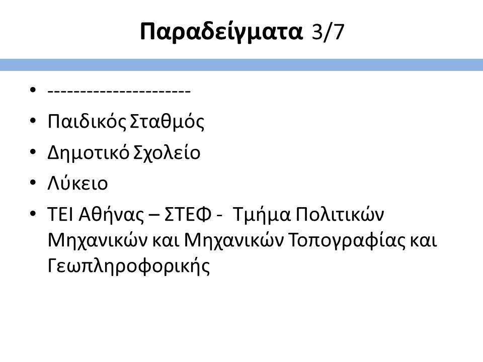 Παραδείγματα 3/7 ---------------------- Παιδικός Σταθμός Δημοτικό Σχολείο Λύκειο ΤΕΙ Αθήνας – ΣΤΕΦ - Τμήμα Πολιτικών Μηχανικών και Μηχανικών Τοπογραφί