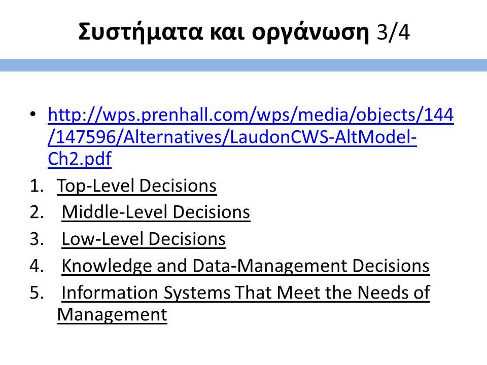 Συστήματα και οργάνωση 3/4 http://wps.prenhall.com/wps/media/objects/144 /147596/Alternatives/LaudonCWS-AltModel- Ch2.pdf http://wps.prenhall.com/wps/