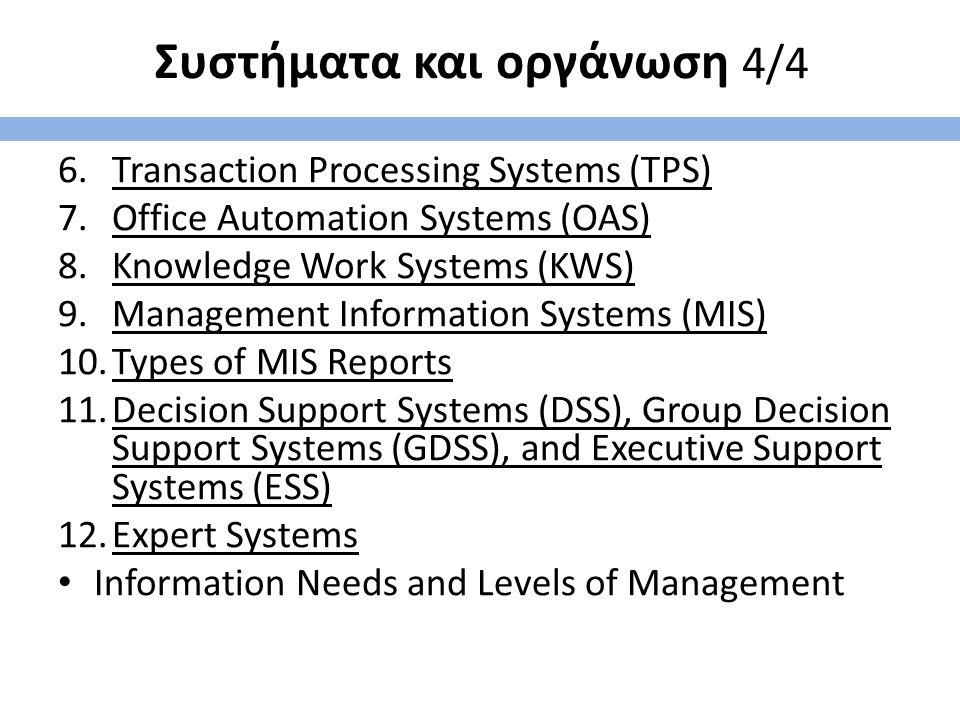 Συστήματα και οργάνωση 4/4 6.Transaction Processing Systems (TPS) 7.Office Automation Systems (OAS) 8.Knowledge Work Systems (KWS) 9.Management Inform