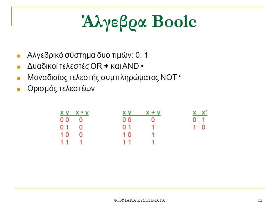 Άλγεβρα Boole Αλγεβρικό σύστημα δυο τιμών: 0, 1 Δυαδικοί τελεστές OR + και AND Μοναδιαίος τελεστής συμπληρώματος NOT ' Ορισμός τελεστέων 12 ΨΗΦΙΑΚΑ ΣΥΣΤΗΜΑΤΑ