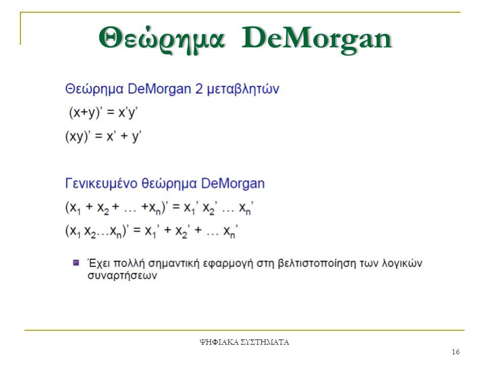 ΘεώρημαDeMorganΘεώρημα DeMorgan ΨΗΦΙΑΚΑ ΣΥΣΤΗΜΑΤΑ 16