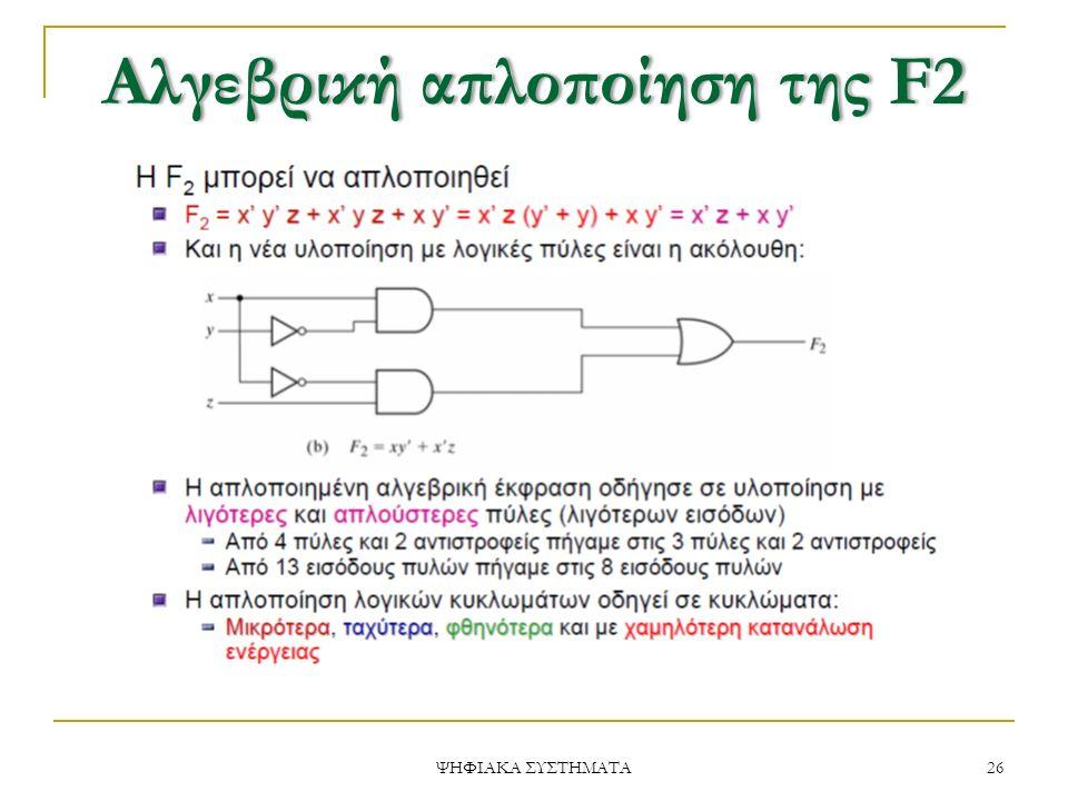 ΑλγεβρικήαπλοποίησητηςF2Αλγεβρική απλοποίηση της F2 26 ΨΗΦΙΑΚΑ ΣΥΣΤΗΜΑΤΑ
