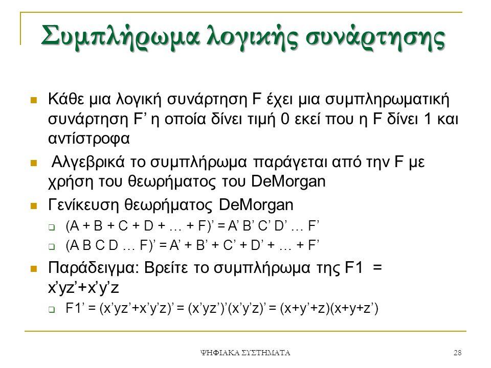 Συμπλήρωμα λογικής συνάρτησης Κάθε μια λογική συνάρτηση F έχει μια συμπληρωματική συνάρτηση F' η οποία δίνει τιμή 0 εκεί που η F δίνει 1 και αντίστροφα Αλγεβρικά το συμπλήρωμα παράγεται από την F με χρήση του θεωρήματος του DeMorgan Γενίκευση θεωρήματος DeMorgan  (Α + Β + C + D + … + F)' = A' B' C' D' … F'  (A B C D … F)' = A' + B' + C' + D' + … + F' Παράδειγμα: Βρείτε το συμπλήρωμα της F1 = x'yz'+x'y'z  F1' = (x'yz'+x'y'z)' = (x'yz')'(x'y'z)' = (x+y'+z)(x+y+z') 28 ΨΗΦΙΑΚΑ ΣΥΣΤΗΜΑΤΑ