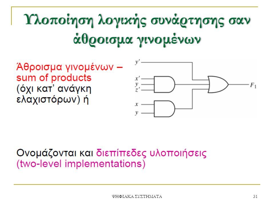 Υλοποίηση λογικής συνάρτησης σαν άθροισμα γινομένων 31 ΨΗΦΙΑΚΑ ΣΥΣΤΗΜΑΤΑ