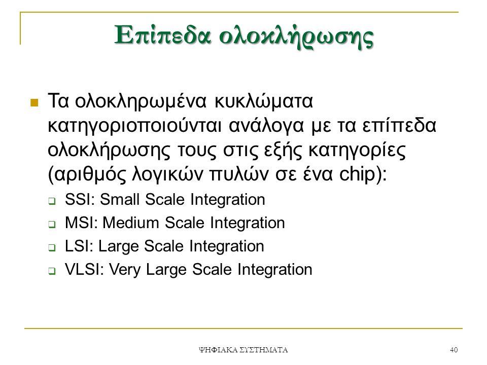 Επίπεδα ολοκλήρωσης 40 ΨΗΦΙΑΚΑ ΣΥΣΤΗΜΑΤΑ Τα ολοκληρωμένα κυκλώματα κατηγοριοποιούνται ανάλογα με τα επίπεδα ολοκλήρωσης τους στις εξής κατηγορίες (αριθμός λογικών πυλών σε ένα chip):  SSI: Small Scale Integration  MSI: Medium Scale Integration  LSI: Large Scale Integration  VLSI: Very Large Scale Integration
