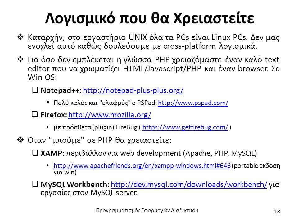 Λογισμικό που θα Χρειαστείτε  Καταρχήν, στο εργαστήριο UNIX όλα τα PCs είναι Linux PCs.