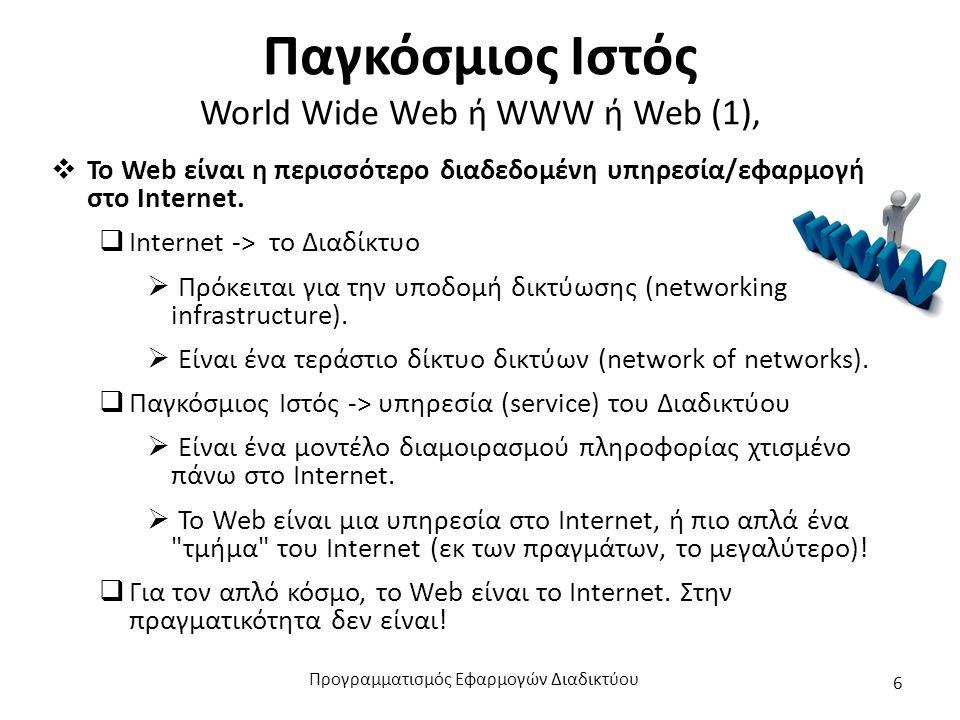 Παγκόσμιος Ιστός World Wide Web ή WWW ή Web (2)  Άλλες (όχι όλες!) υπηρεσίες στο Internet:  e-mail: ηλεκτρονική αλληλογραφία  ftp: μεταφορά αρχείων – έχει υποσκελιστεί σε μεγάλο βαθμό από το web  Newsgroups /usenet: θεματικές λίστες ηλεκτρονικού ταχυδρομείου (ασύγχρονη συζήτηση) – έχουν υποσκελιστεί από τα forums του Web.