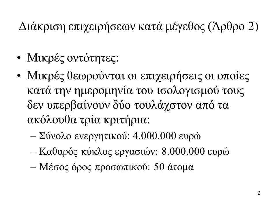 2 Διάκριση επιχειρήσεων κατά μέγεθος (Άρθρο 2) Μικρές οντότητες: Mικρές θεωρούνται οι επιχειρήσεις οι οποίες κατά την ημερομηνία του ισολογισμού τους δεν υπερβαίνουν δύο τουλάχστον από τα ακόλουθα τρία κριτήρια: –Σύνολο ενεργητικού: 4.000.000 ευρώ –Καθαρός κύκλος εργασιών: 8.000.000 ευρώ –Μέσος όρος προσωπικού: 50 άτομα