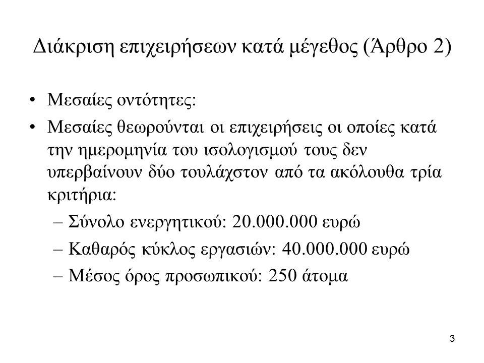 3 Διάκριση επιχειρήσεων κατά μέγεθος (Άρθρο 2) Μεσαίες οντότητες: Mεσαίες θεωρούνται οι επιχειρήσεις οι οποίες κατά την ημερομηνία του ισολογισμού τους δεν υπερβαίνουν δύο τουλάχστον από τα ακόλουθα τρία κριτήρια: –Σύνολο ενεργητικού: 20.000.000 ευρώ –Καθαρός κύκλος εργασιών: 40.000.000 ευρώ –Μέσος όρος προσωπικού: 250 άτομα