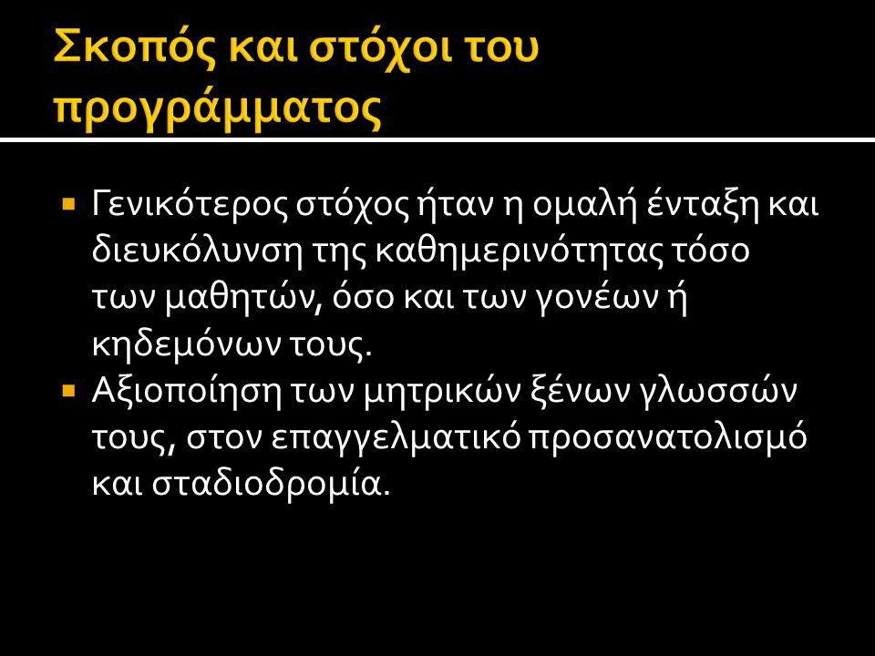  Είναι σημαντικό να αναφερθεί ότι, το 1 ο ΕΠΑΛ Θεσσαλονίκης συμμετέχει στο πρόγραμμα Εκπαίδευσης Αλλοδαπών και Παλιννοστούντων μαθητών ΔΙΑΠΟΛΙΣ.