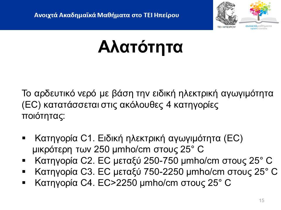 15 Αλατότητα Το αρδευτικό νερό με βάση την ειδική ηλεκτρική αγωγιμότητα (ΕC) κατατάσσεται στις ακόλουθες 4 κατηγορίες ποιότητας:  Κατηγορία C1.