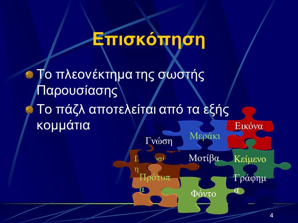3 Πρόγραμμα εργασιών Δημιουργία Παρουσίασης με Οδηγό Δημιουργία Παρουσίασης με χρήση Προτύπου Σχεδίασης Δημιουργία Παρουσίασης με χρήση Προτύπου Περιεχομένου Δημιουργία Παρουσίασης με χρήση κενής παρουσίασης