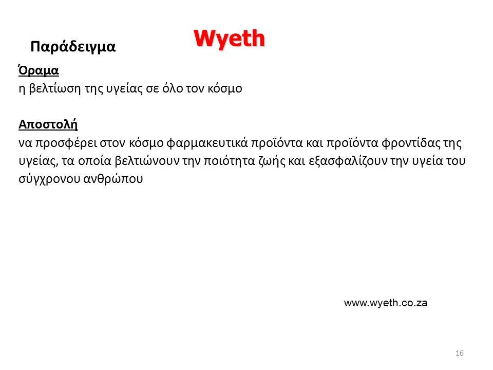 Όραμα η βελτίωση της υγείας σε όλο τον κόσμο Αποστολή να προσφέρει στον κόσμο φαρμακευτικά προϊόντα και προϊόντα φροντίδας της υγείας, τα οποία βελτιώνουν την ποιότητα ζωής και εξασφαλίζουν την υγεία του σύγχρονου ανθρώπου Wyeth Παράδειγμα www.wyeth.co.za 16