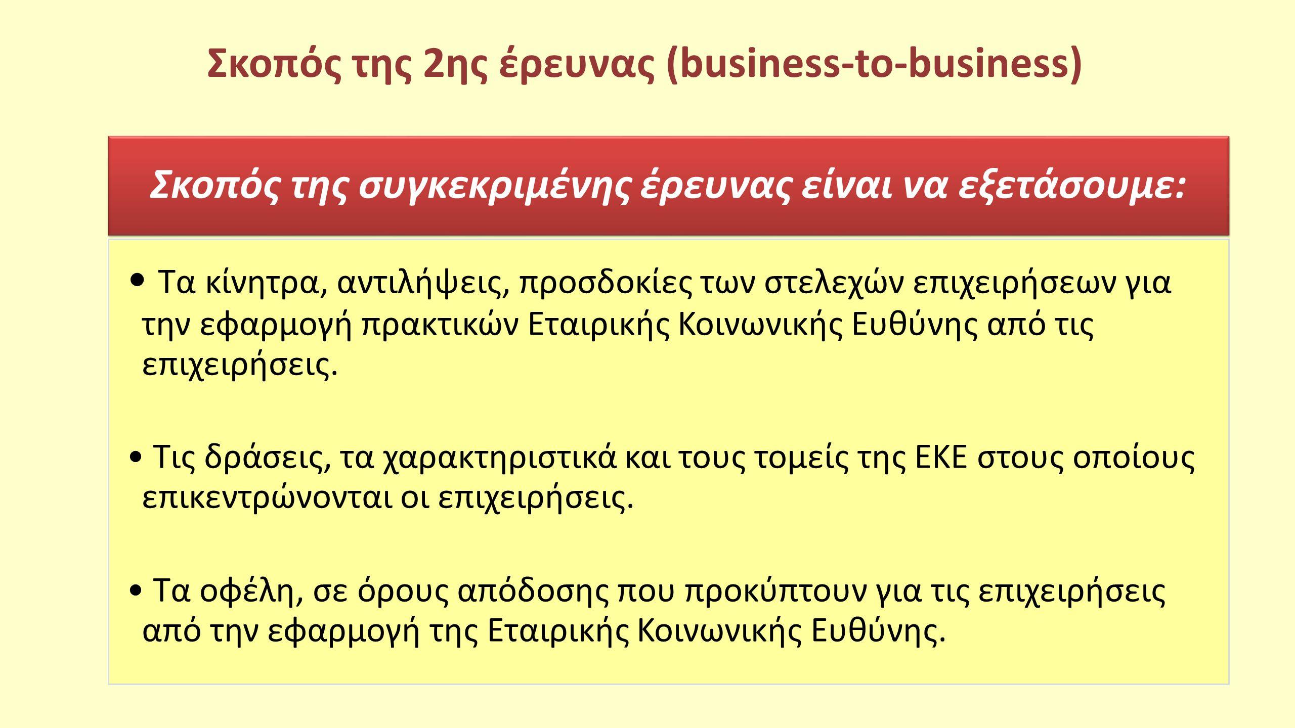 Σκοπός της 2ης έρευνας (business-to-business) Σκοπός της συγκεκριμένης έρευνας είναι να εξετάσουμε: Τα κίνητρα, αντιλήψεις, προσδοκίες των στελεχών επ