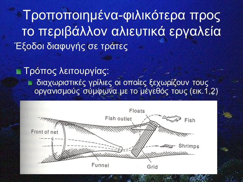Τροποποιημένα-φιλικότερα προς το περιβάλλον αλιευτικά εργαλεία Έξοδοι διαφυγής σε τράτες Τρόπος λειτουργίας: διαχωριστικές γρίλιες οι οποίες ξεχωρίζουν τους οργανισμούς σύμφωνα με το μέγεθός τους (εικ.1,2)