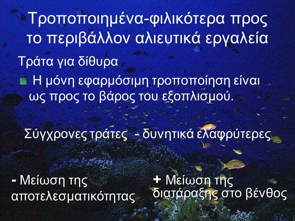 Τροποποιημένα-φιλικότερα προς το περιβάλλον αλιευτικά εργαλεία Τράτα για δίθυρα Η μόνη εφαρμόσιμη τροποποίηση είναι ως προς το βάρος του εξοπλισμού.