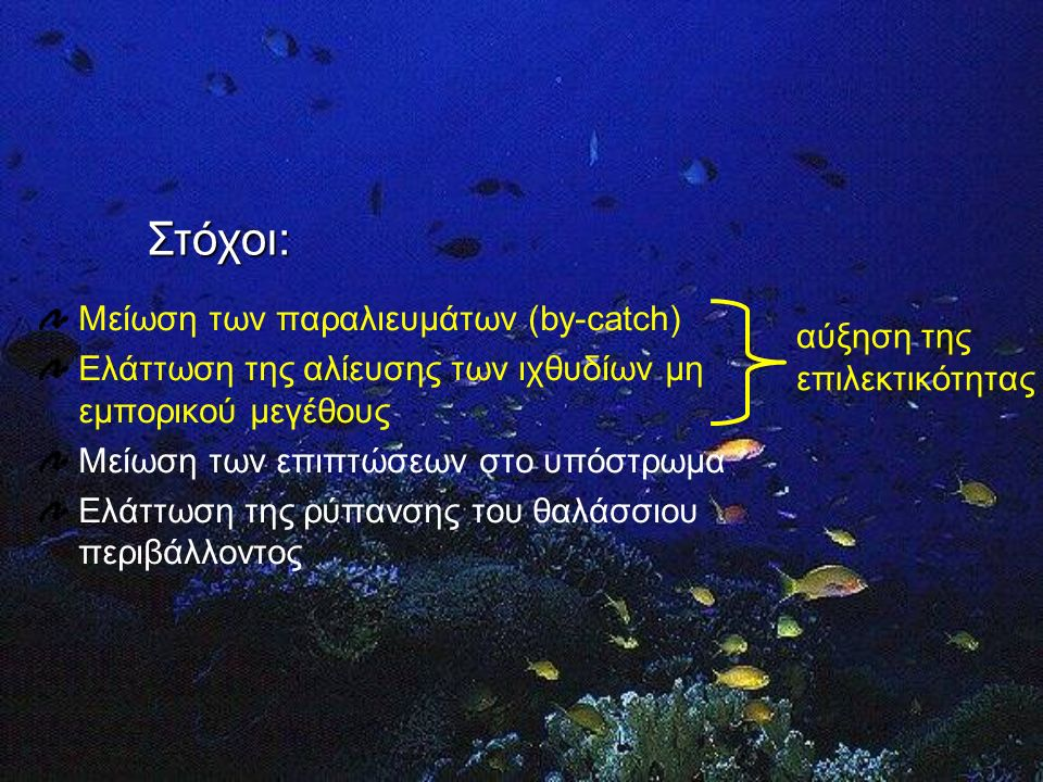 Τροποποιημένα-φιλικότερα προς το περιβάλλον αλιευτικά εργαλεία Μάτι διχτυού Μέγεθος ματιού Σχήμα: τα τετράγωνα μάτια είναι καλύτερα από τα ρομβοειδή γιατί κάνουν τα δίχτυα πιο επιλεκτικά, ως προς το μέγεθος των ψαριών που συγκρατούν
