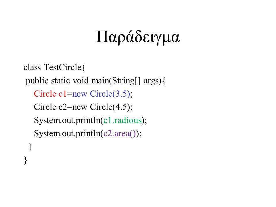 Παράδειγμα class TestCircle{ public static void main(String[] args){ Circle c1=new Circle(3.5); Circle c2=new Circle(4.5); System.out.println(c1.radio