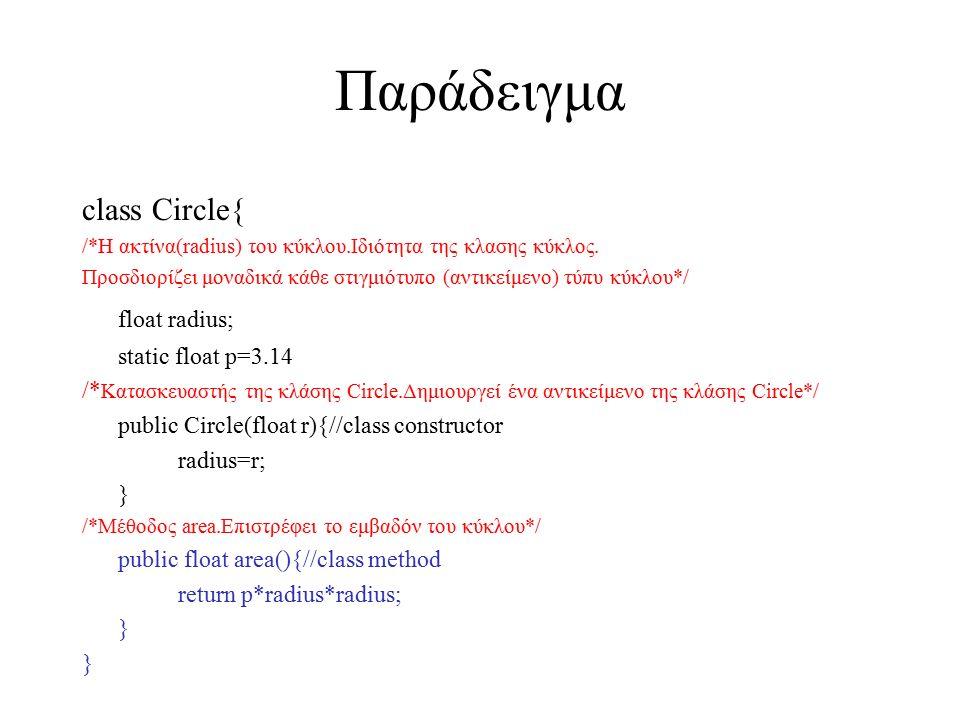 Παράδειγμα class Circle{ /*Η ακτίνα(radius) του κύκλου.Ιδιότητα της κλασης κύκλος. Προσδιορίζει μοναδικά κάθε στιγμιότυπο (αντικείμενο) τύπυ κύκλου*/