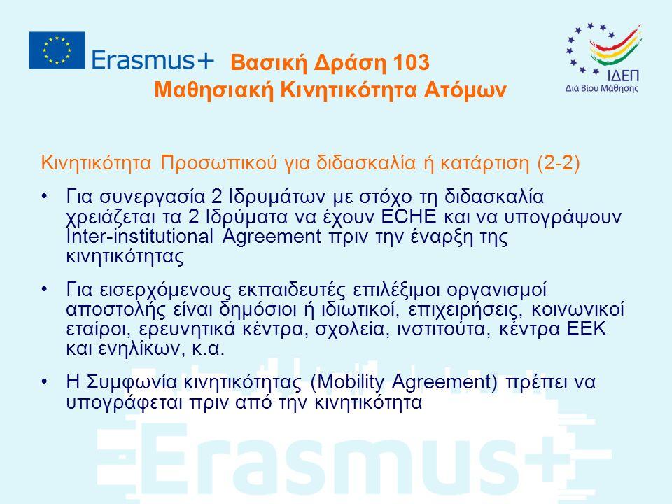 Βασική Δράση 103 Μαθησιακή Κινητικότητα Ατόμων Κινητικότητα Προσωπικού για διδασκαλία ή κατάρτιση (2-2) Για συνεργασία 2 Ιδρυμάτων με στόχο τη διδασκαλία χρειάζεται τα 2 Ιδρύματα να έχουν ECHE και να υπογράψουν Inter-institutional Agreement πριν την έναρξη της κινητικότητας Για εισερχόμενους εκπαιδευτές επιλέξιμοι οργανισμοί αποστολής είναι δημόσιοι ή ιδιωτικοί, επιχειρήσεις, κοινωνικοί εταίροι, ερευνητικά κέντρα, σχολεία, ινστιτούτα, κέντρα ΕΕΚ και ενηλίκων, κ.α.