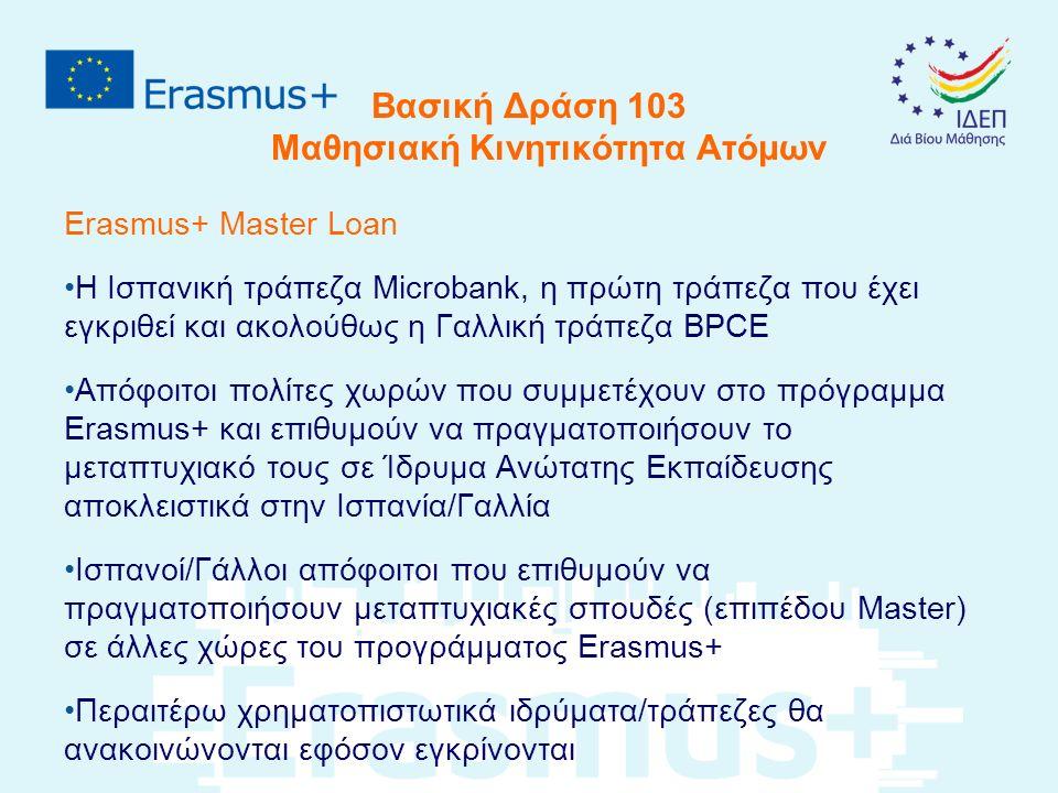 Βασική Δράση 103 Μαθησιακή Κινητικότητα Ατόμων Erasmus+ Master Loan Η Ισπανική τράπεζα Microbank, η πρώτη τράπεζα που έχει εγκριθεί και ακολούθως η Γαλλική τράπεζα BPCE Απόφοιτοι πολίτες χωρών που συμμετέχουν στο πρόγραμμα Erasmus+ και επιθυμούν να πραγματοποιήσουν το μεταπτυχιακό τους σε Ίδρυμα Ανώτατης Εκπαίδευσης αποκλειστικά στην Ισπανία/Γαλλία Ισπανοί/Γάλλοι απόφοιτοι που επιθυμούν να πραγματοποιήσουν μεταπτυχιακές σπουδές (επιπέδου Master) σε άλλες χώρες του προγράμματος Erasmus+ Περαιτέρω χρηματοπιστωτικά ιδρύματα/τράπεζες θα ανακοινώνονται εφόσον εγκρίνονται