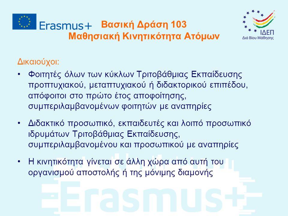 Βασική Δράση 103 Μαθησιακή Κινητικότητα Ατόμων Υποβάλλονται αιτήσεις από: Ιδρύματα (HEI) ανώτερης εκπαίδευσης που διαθέτουν τον Πανεπιστημιακό Χάρτη Erasmus (ECHE) και είναι σε χώρες του Προγράμματος Κοινοπραξία Κινητικότητας (Consortia), Ιδρύματα και οργανισμοί που έχουν πιστοποίηση - HE Mobility Consortium Certificate.