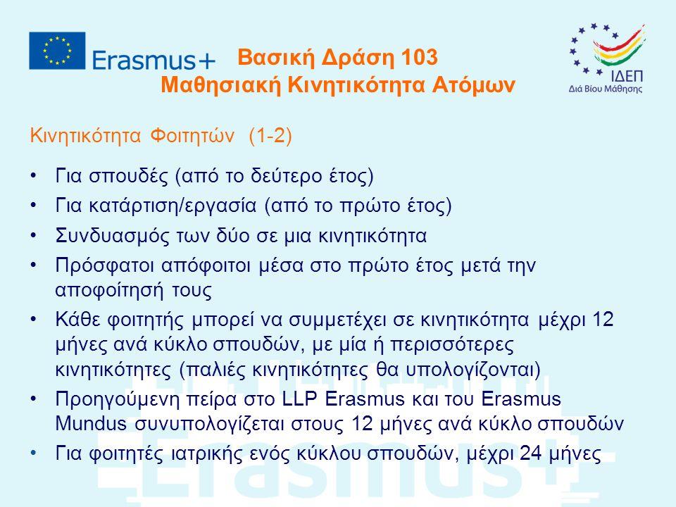 Βασική Δράση 103 Μαθησιακή Κινητικότητα Ατόμων Κινητικότητα Φοιτητών (2-2) Η κινητικότητα θα πρέπει να αποτελεί μέρος του προγράμματος σπουδών του φοιτητή (για κατάρτιση, αν είναι δυνατό) Για σπουδές η διάρκεια είναι από 3-12 μήνες Για κατάρτιση η διάρκεια είναι από 2-12 μήνες Οι φοιτητές ακολουθούν πιστά το Erasmus Student Charter Διαδικτυακή Γλωσσική Προετοιμασία από τα ιδρύματα ανώτερης εκπαίδευσης (licenses – language assessments/courses)