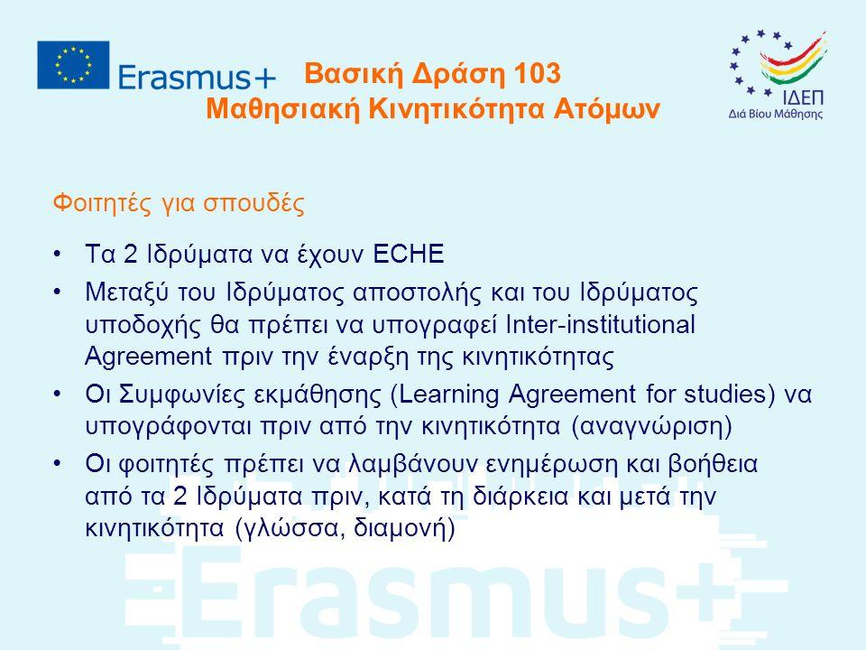 Βασική Δράση 103 Μαθησιακή Κινητικότητα Ατόμων Φοιτητές για σπουδές Τα 2 Ιδρύματα να έχουν ECHE Μεταξύ του Ιδρύματος αποστολής και του Ιδρύματος υποδοχής θα πρέπει να υπογραφεί Inter-institutional Agreement πριν την έναρξη της κινητικότητας Οι Συμφωνίες εκμάθησης (Learning Agreement for studies) να υπογράφονται πριν από την κινητικότητα (αναγνώριση) Οι φοιτητές πρέπει να λαμβάνουν ενημέρωση και βοήθεια από τα 2 Ιδρύματα πριν, κατά τη διάρκεια και μετά την κινητικότητα (γλώσσα, διαμονή)